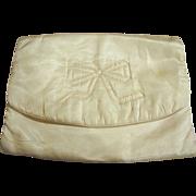 Vintage Peach Acetate Satin Bow Design Lingerie Bag