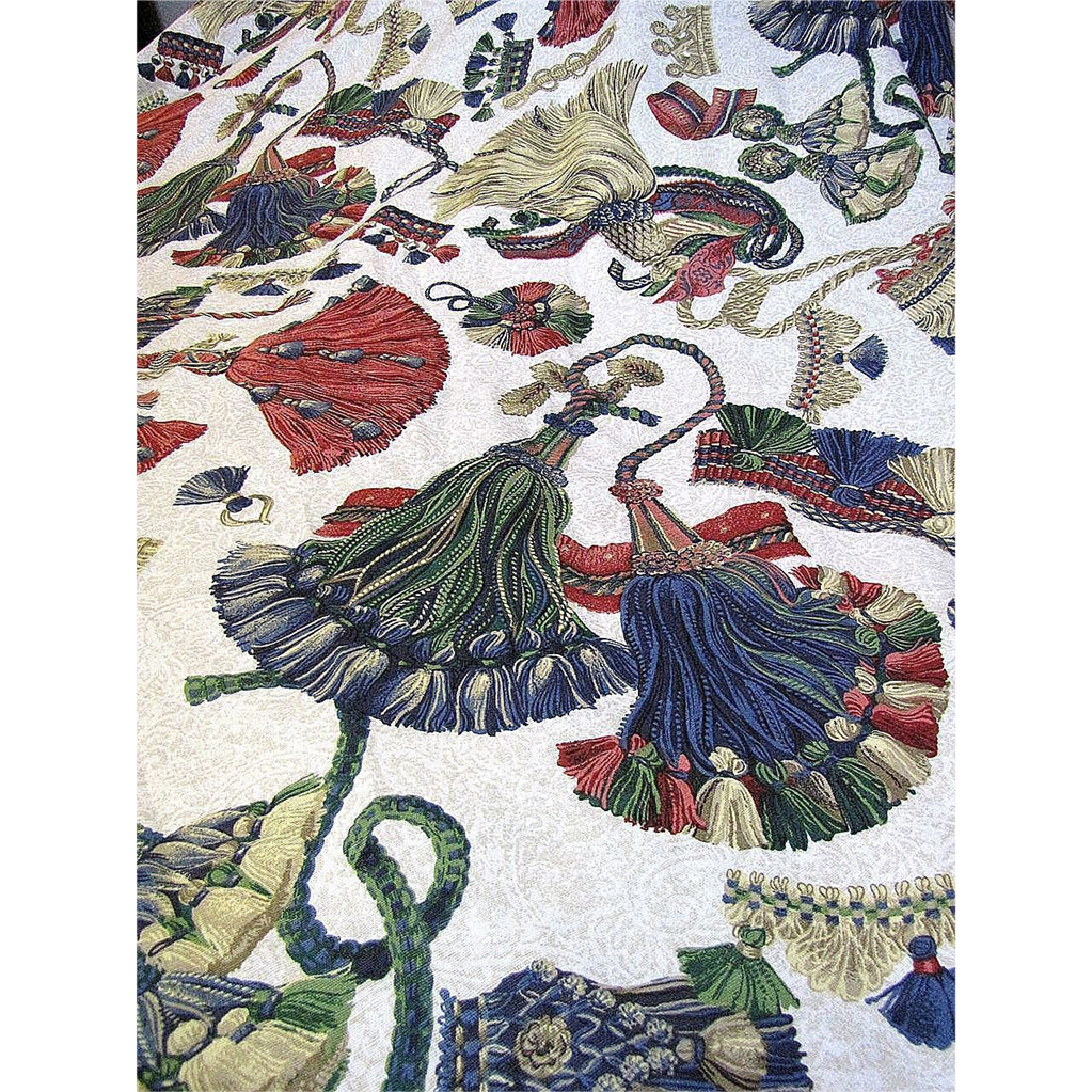 superb 24 yard bolt end of vintage trompe l 39 oeil tassel fabric by sold on ruby lane. Black Bedroom Furniture Sets. Home Design Ideas