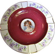 Cico Bavarian Porcelain Portrait Ashtray, Maroon with Gold Trim & Violet Flowers (No 1)