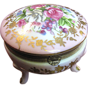 Victorian Style Floral Porcelain Trinket Box with Gilt Mounts by Norleans