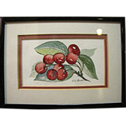 Small Watercolor Still Life Study of Cherries by Kay Broxton, S.C.