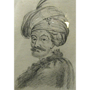 19th Century Orientalist Pencil Portrait of Gentleman with Turban