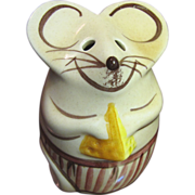Vintage Pottery Mouse Hand Painted Parmesan Cheese Shaker