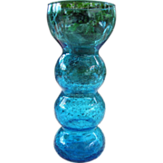 Vibrant Turquoise Crackle Glass Vase for Bulbs or Flowers