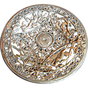 Gilt Cast Iron Renaissance Revival Tazza by Iron Art, with Neptune, Sea Gods, Dolphins!