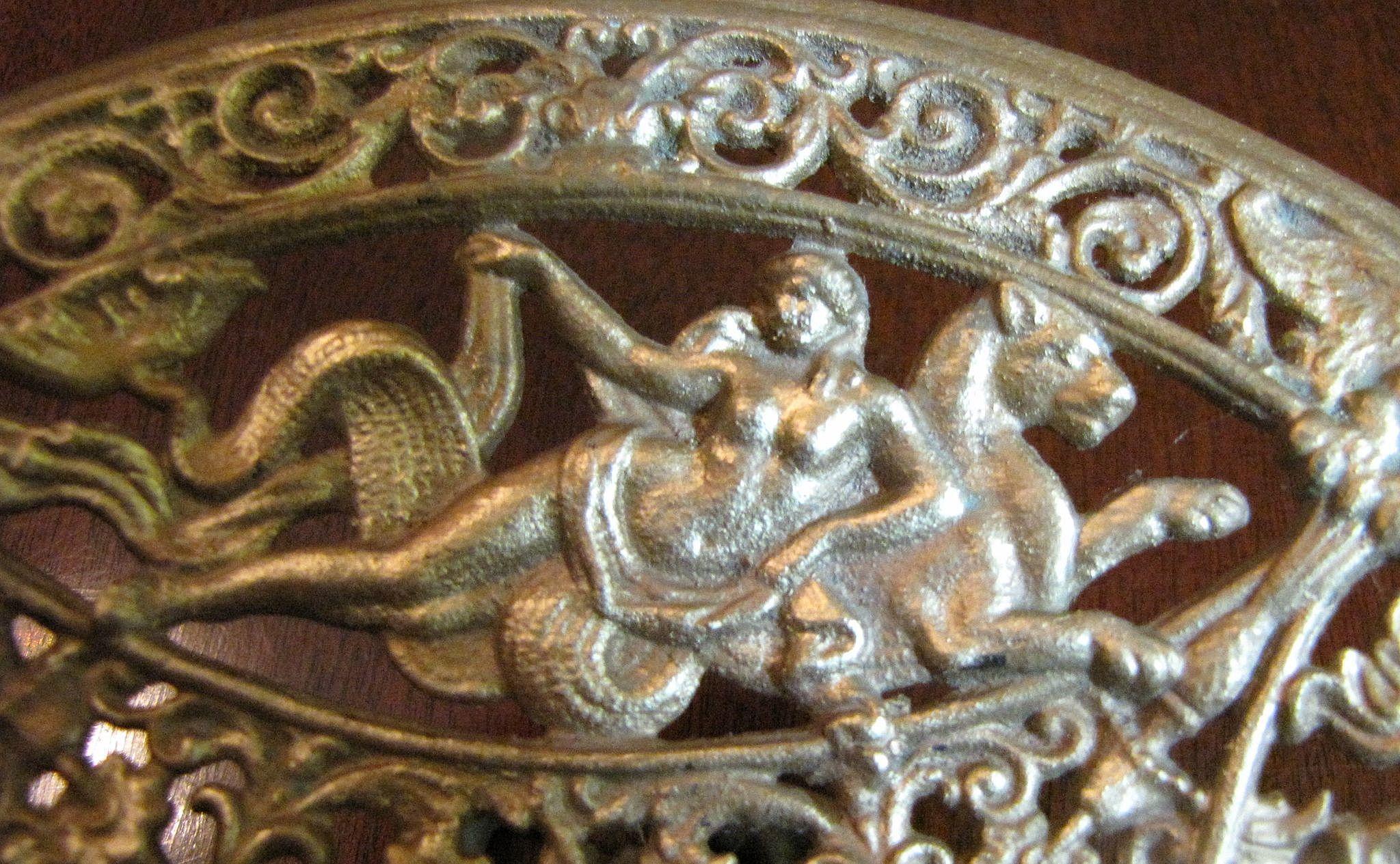 Gilt cast iron renaissance revival tazza by art with