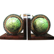 Vintage Pair of Spinning Globe Bookends with Wood Base by Armbee of San Francisco