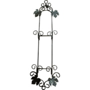 Very Large Tuscan Style Iron Double Plate Hanger with Vine Design