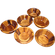 Nice Set of 6 Solid Wooden Salad Bowls by Bella Vineyard