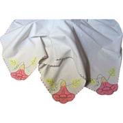 "Pretty Hand Appliqued 34"" Bridge or Tea Tablecloth, Sunny Flowers!"