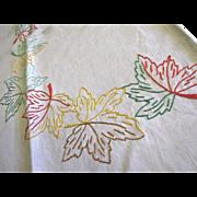 Lovely Vintage Hand Embroidered Leaf Design Tea or Bridge Tablecloth
