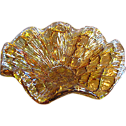 Venetian Vetro Eseguito Murano Amber Art Glass Bowl, Amazing Color & Texture!