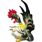 Colorful Country Style Vintage Ceramic Rooster Figurine