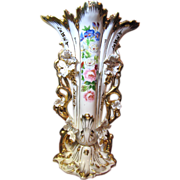 "17 1/2"" Old Paris Porcelain Vase, Lavish Gilding, Hand Painted Flowers"