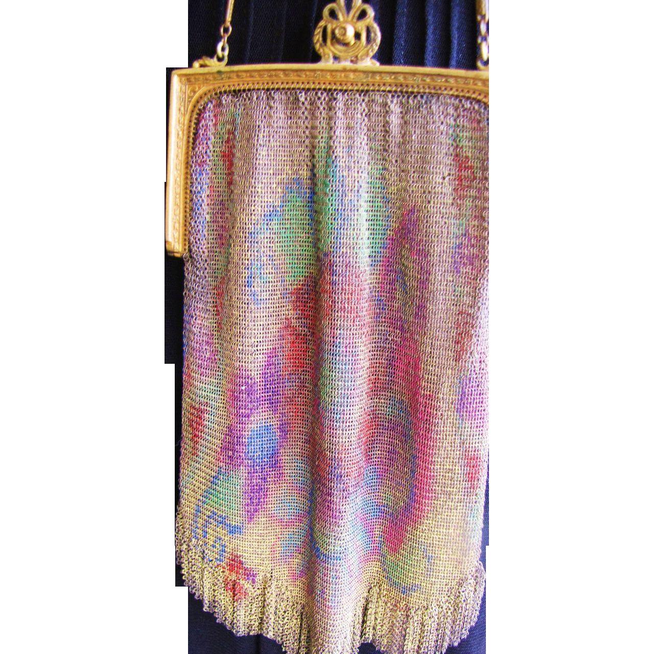 Finest 1920's Dresden Rainbow Mesh Evening Bag