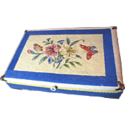 For Harris August 2, Large Wooden Storage Box with Hand Embroidered Needlepoint Cover