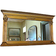 Petite Antique Neo Classical Gilt Gesso on Wood Overmantle Mirror