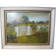 Charming Vintage Impressionist Oil Painting of Garden with Gate