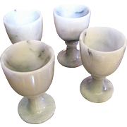 Four Vintage White Marble Cordial Cups, Pristine!
