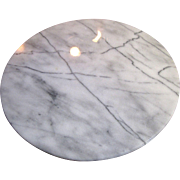 "Circular White Marble Cheese Board, 9 3/4"" Diameter"