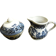 Lidded Sugar & Creamer, Churchill Blue Willow Pattern