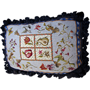 Harris, Beautiful Wool Needle and Petite Point Oblong Pillow, Birds, Insects, Flowers!