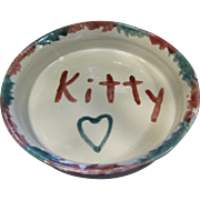 "Hand Made Latham's Seagrove Pottery ""Kitty"" Cat Bowl"