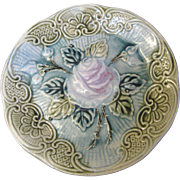 "Antique Majolica Rose Pattern 6 1/4"" Plate, Circa 1890"