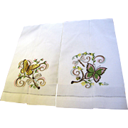 Pretty Machine Embroidered Butterfly Design Finger Towels