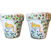 Pair of Hand Painted Whimsical Kitty Design Small Flower Pots