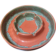 Beautiful Eames Era USA Made Art Pottery Ashtray, Unusual Glaze Colors