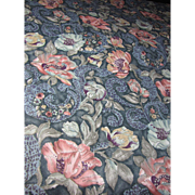 3 Yd Remnant of Luxury Gilt Finished 10 Color Screen Printed Fabric