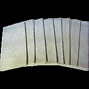 "8 Edwardian Hand Monogrammed H Fine 22"" Linen Napkins"