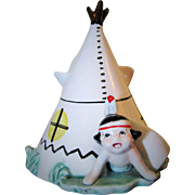 1950's Native American Indian Boy Under Tepee Ceramic Planter Vase
