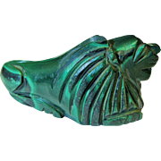 Art Deco Chinese Carved Malachite Figure of a Lion