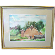 Attractive Watercolor of Rural Barn & Outbuildings by Florence B. Muller
