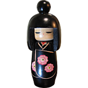 "Lovely 7"" Kokeshi Doll with Top Knot, Original Foil Label"