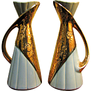 Pair of Vintage Weeping Gold Mid Century Vases by the Savoy China Company