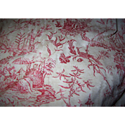 "Stunning Williamsburg Oriental Toile 92"" Remnant in Lacquer Red and Beige"