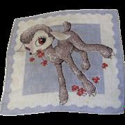 Cute Vintage Printed Lambkin Child's Hankie