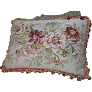 "Huge 28"" Hand Woven Aubusson Floral Pillow, Pinks, Golds, Pristine"