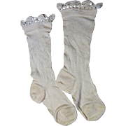 Darling Pair of Fully Formed Silk Stockings with Hand Made Lace for Large Doll @ 50% OFF