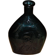 Circa 1900's George Washington Art Glass Bottle, Blue Blown Embossed