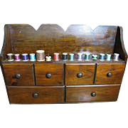 Harris, September - Large Hand Made Wooden Wall Mount Sewing Box, 15 Thread Holders & 6 Drawers