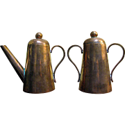 Elegant Continental Copper Lidded Small Coffee Pot & Sugar Bowl