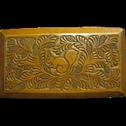 Beautiful Folk Art Hand Carved Squirrel & Pinecone Hardwood Box