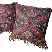 "Opulent Pair of 17"" Lacquer Red Oriental Chenille Pillows with Glass Fringes"