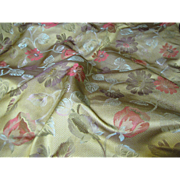 Sumptuous 3 Yd Remnant of Fully Woven Floral Brocade