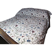 Kashmiri Crewel Embroidered Coverlet or Bedspread