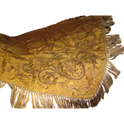 Opulent Silk Brocade Victorian Piano Shawl, Bullion Embroidery, Deep Fringes, Some Issues